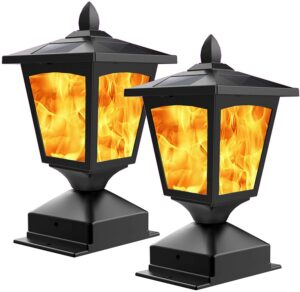 Solar Post Light,Outdoor Post Cap Light Flickering Flame Light